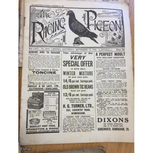 Very Rare Selection of 11 The Racing Pigeon Homing Pigeon Magazines